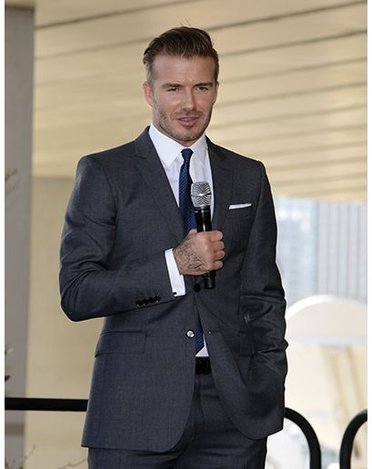 David beckham wearing charcoal blazer white dress shirt for Dress shirt no pocket
