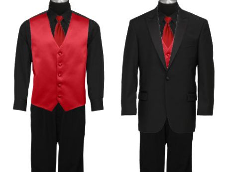 I like this idea for the groom/groomsmen...black shirts, red ties/vest