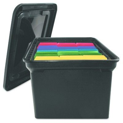 Advantus File Tote Storage Box with Lid, Legal/Letter, Plastic, Black
