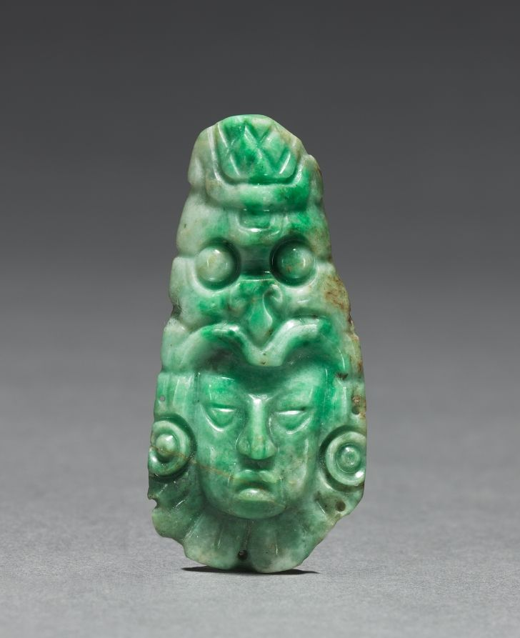 Honduras, Copan, Maya, 7th-10th Century, jade, Overall: 7.70 x 3.80 cm (3 x 1 7/16 inches). Gift of Mrs. R. Henry Norweb in memory of her aunt, Delia Holden White 1947.176