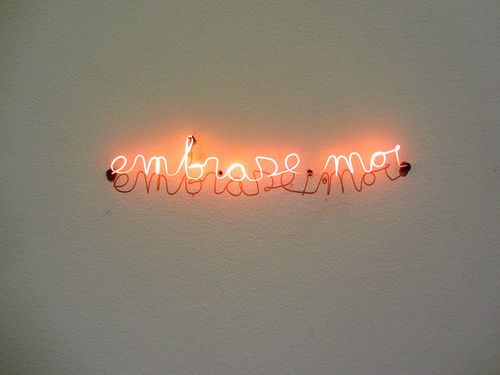 'Embrase-moi' neon, 1993 by artist Michel De Broin - Photography by Robert Saucier, via Flickr