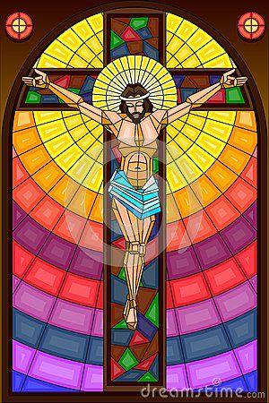 Pintura del vitral de la crucifixión.