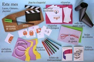 En esta imagen se recogen algunos de los instrumentos necesarios para hacer cine a partir de manualidades sencillas