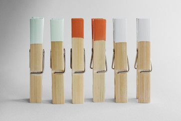 Paint-dipped Clothespins contemporary laundry products