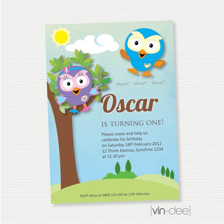 Hoot and Hootabelle Birthday Invitation  DIY Printable by vindee, $14.00