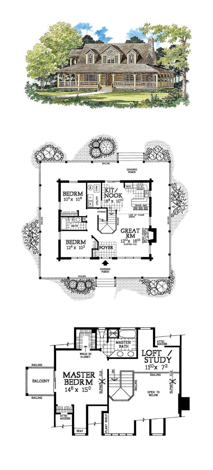 17 best images about log home plans on pinterest decks for Log siding house plans