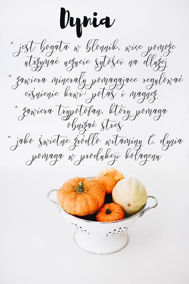 Pumpkin * is rich in fiber, so it will keep you full longer * it contains potassium and magnesium, that will help regulate blood pressure * it contains triptophan, that reduces stress * as a great source of vitamin C, pumpkin helps producing collagen.