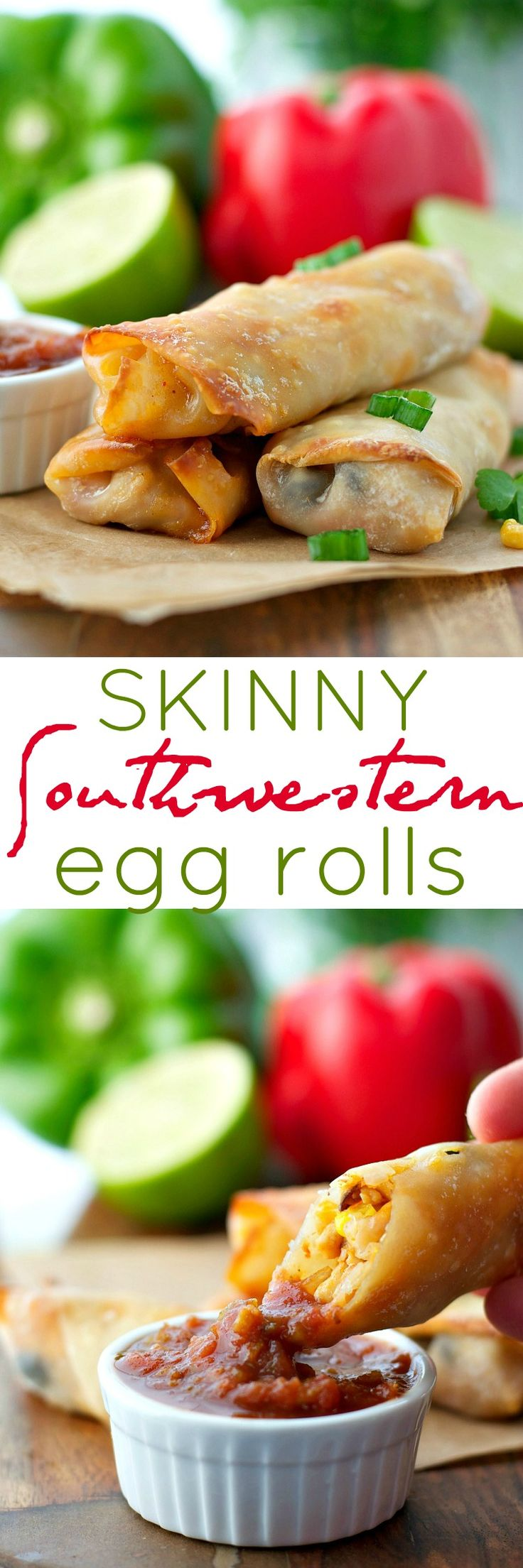 A quick and healthy dinner or a fun party appetizer, these Skinny Southwestern Egg Rolls are crispy on the outside, stuffed with a cheesy chicken filling, and perfect for dipping! Only 125 calories per roll!