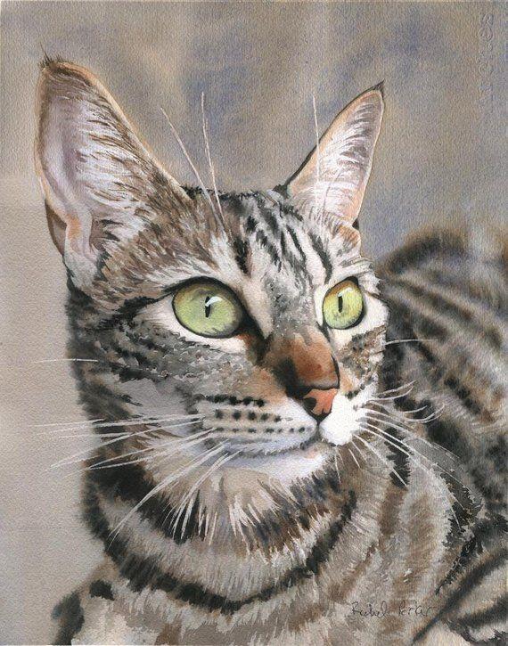 Tabby Cat Art Print Of My Watercolor Painting Brown Gray Black Etsy Cat Art Watercolor Cat Cat Art Print