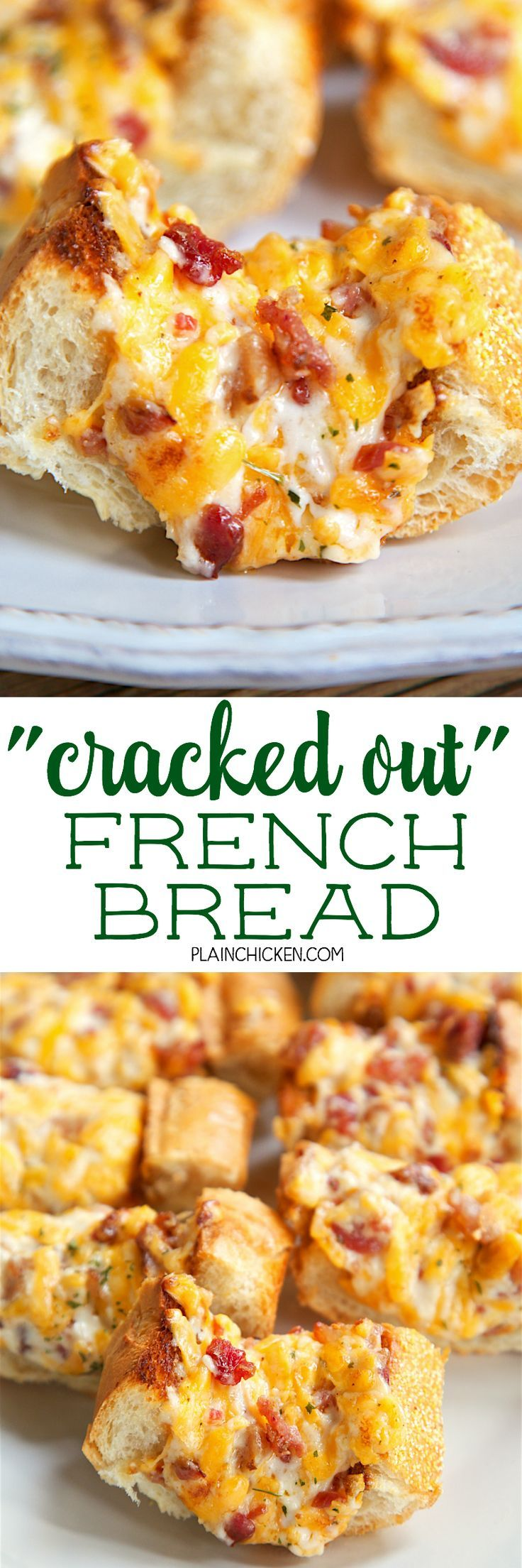 """Cracked Out"" French Bread - crazy addictive! French bread topped with cheddar, bacon and ranch. We could not stop eating this! Serve as a party appetizer or as a side dish to your meal. Either way, this will be gone in a flash!!!"