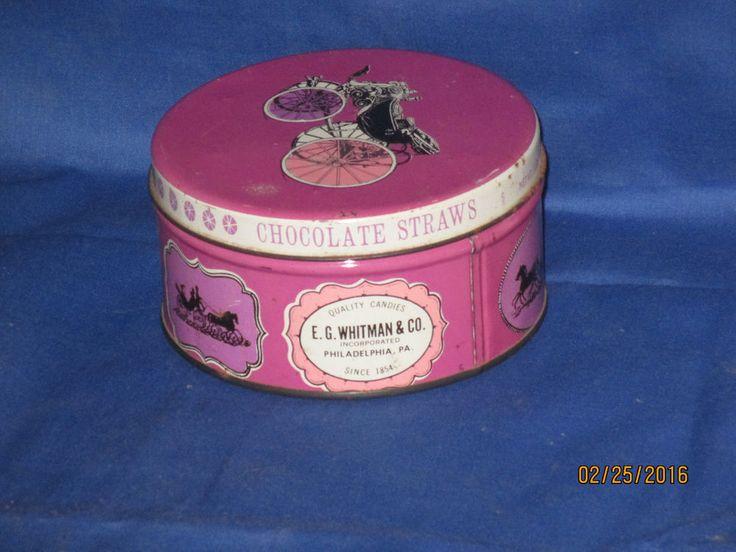 E.G. WHITMAN & COMPANY CHOCOLATE STRAW CANDY TIN, VINTAGE