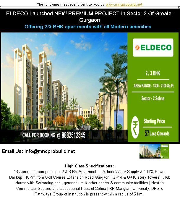 """Eldeco New Launch New Residential Projects, Eldeco New Launch Builders New Residential Properties in Gurgaon, New Launches of Eldeco New Launch in Gurgaon and Eldeco New Launch Builders Upcoming Residential Projects 