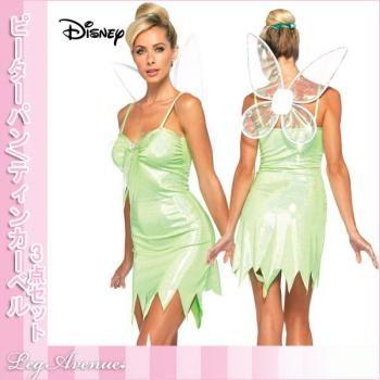 ティンカーベル/ティンク/ディズニー映画ピーターパンの妖精 「ティンカーベル」コス3点セット ハロウィンコスチューム レッグアベニュー Disney Peter Pan Tinkerbell Costume