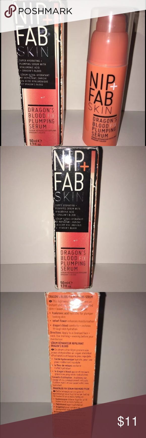 Nip + Fab Skin Dragons Blood Fix Plumping Serum a 1.7oz tube of Nip+Fab Skin Dragon's Blood fix plumping serum. Super hydrating plumping serum w/ hyaluronic acid&dragon's blood. Delivers an instant shot of moisture to dehydrated skin & leaves skin looking plumper. -Hyaluronic acid hydrates for pumper looking skin. -Velvet flower enhances moisturization. -Dragon's blood comforts and restores through skin hydration. Apply to cleansed face/neck, use a.m. & p.m. before your moisturizer! Each box…