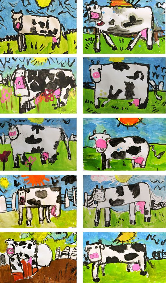 "Click Clack Moo! You could add a typewriter in the background.  Drawing the Cow  We drew in oil pastel and painted with liquid tempera paints. The head as that's the hardest part. draw 2 dots for the eyes, then a horizontal line over the head with little droopy ears at the end of the line. Add two horns then connect the ears with a big letter ""U"" for the face. At the bottom of the face, add a square with two nostrils."