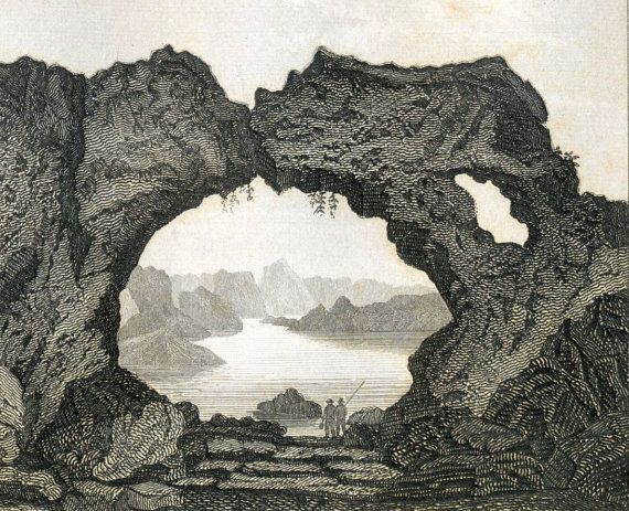 1860 Antique Steel Engraving of Icebergs Caves by bananastrudel