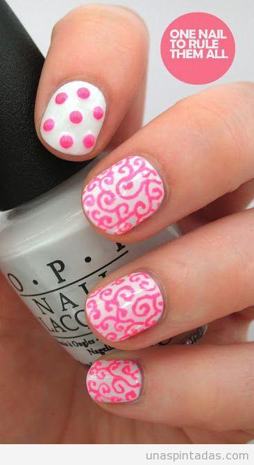 Nail Art, decoración de uñas en rosa neón, primavera 2013