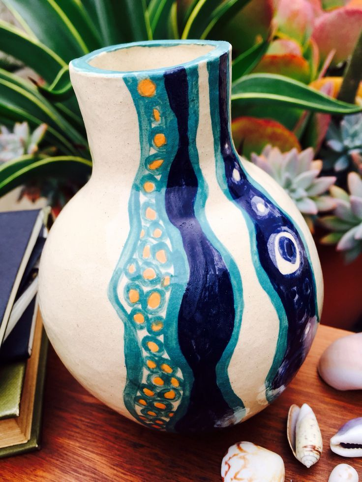 Handmade pottery, hand painted pattern, underglaze, Duncan clear glaze, Mackay Qld, made by Adele Maggie