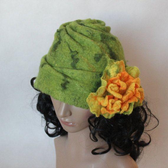 Green felted hat cloche with yellow flower merino by EsartFelt