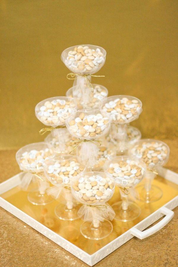 M&M's Champagne Glass Wedding Favors | @savvybride via @aislesociety