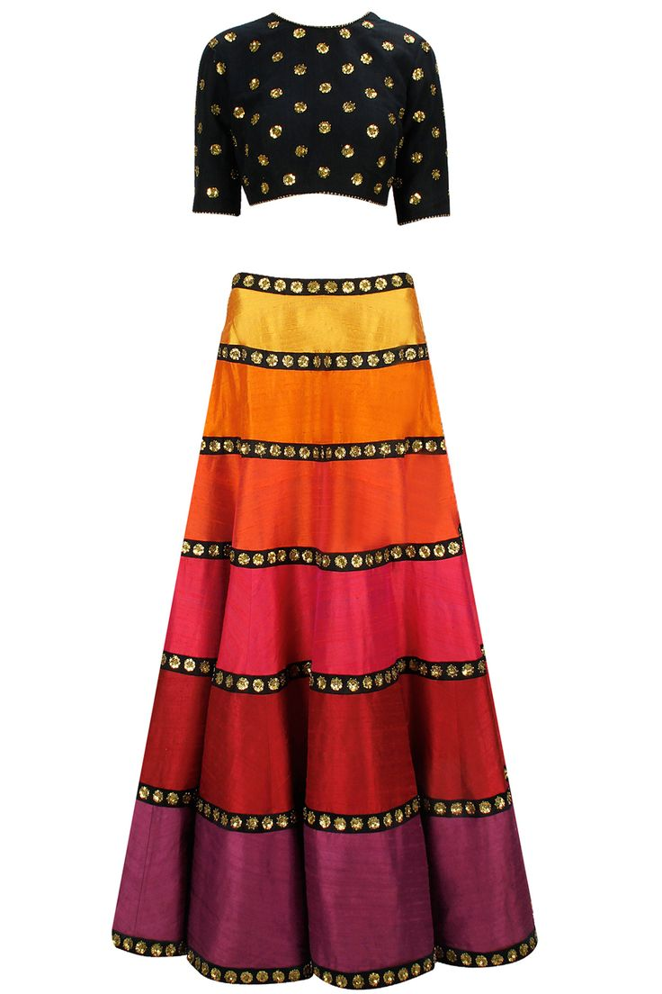 Black and multicolour sequin floral embroidered lehenga set available only at Pernia's Pop-Up Shop.