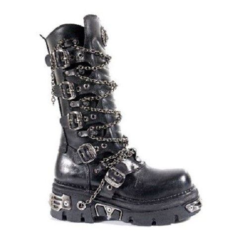 High Boot M. 1013-C1 laars, schoen- gothic, metal, rock zwart met ketting - 37 - New Rock