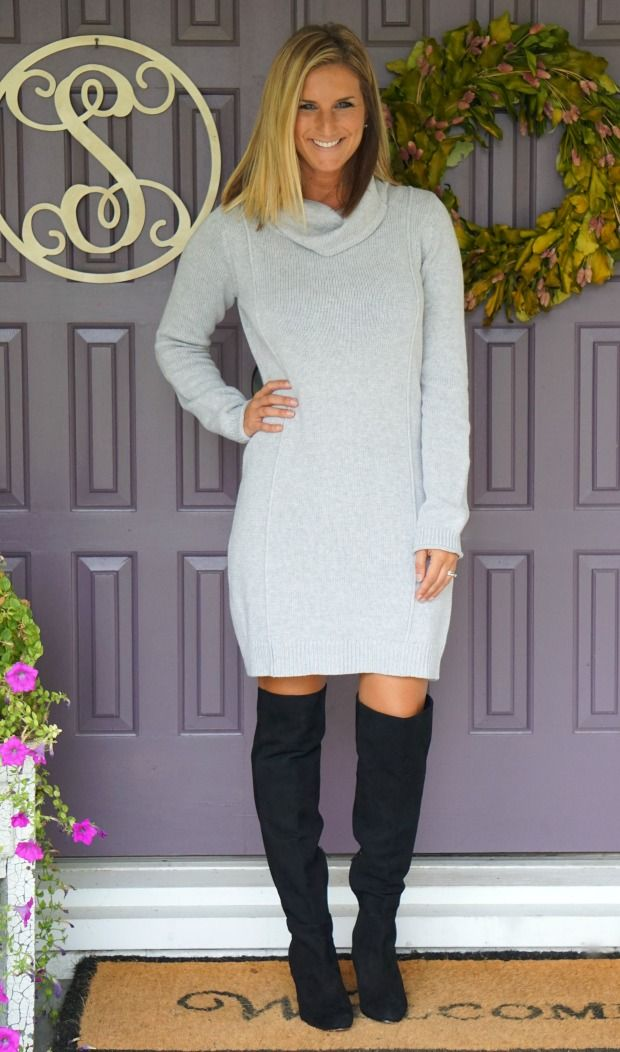Market & Spruce Gretal Sweater Dress from Stitch Fix - perfect with OTK boots, booties, or tights/leggings during the winter