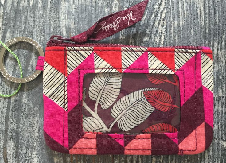 Vera Bradley Zip ID Case in Bohemian Chevron, Key Ring, Coin Purse, NWT #VeraBradley