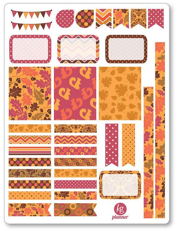 Autumn Feelings Decorating Kit / Weekly Spread Planner Stickers for Erin Condren Planner, Filofax, Plum Paper