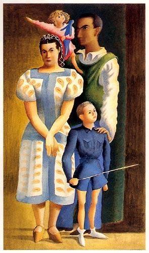 « Autoretrato em família »  (Almada Negreiros e Sarah Afonso com os filhos )  Aguarela sobre cartão ,1944.  775x577 mm  José de Almada Negreiros (1873 - 1970 )