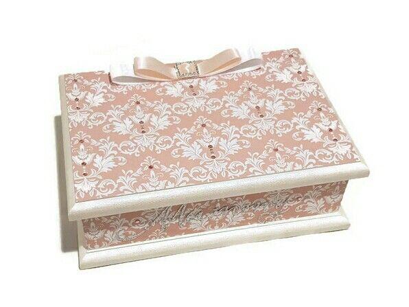 Pink & White Damask Keepsake Box