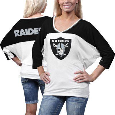 Nike Oakland Raiders Ladies Football Style Three-Quarter Sleeve T-Shirt - White/Black #Fanatics