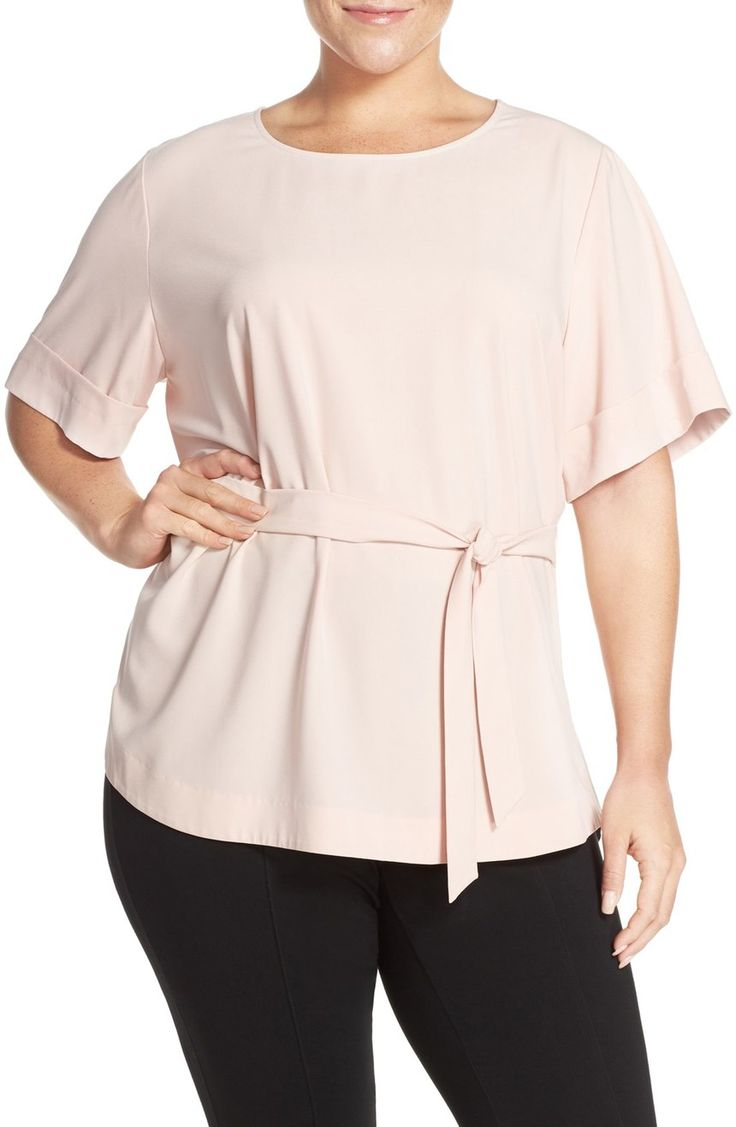 Cute with jeans https://api.shopstyle.com/action/apiVisitRetailer?url=http%3A%2F%2Fshop.nordstrom.com%2Fs%2Fhalogen-belted-short-sleeve-top-plus-size%2F4263756&pid=uid3424-25310868-85