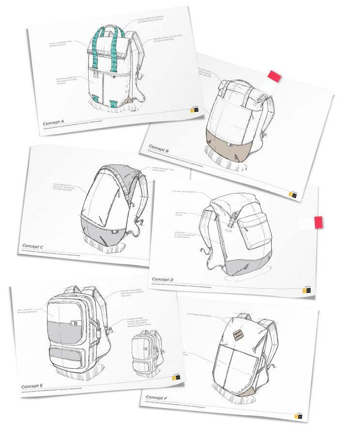 Utilitarian rolltop and rucksack shaped bags with modern color blocking and easily accessible storage to support the urban commuter.