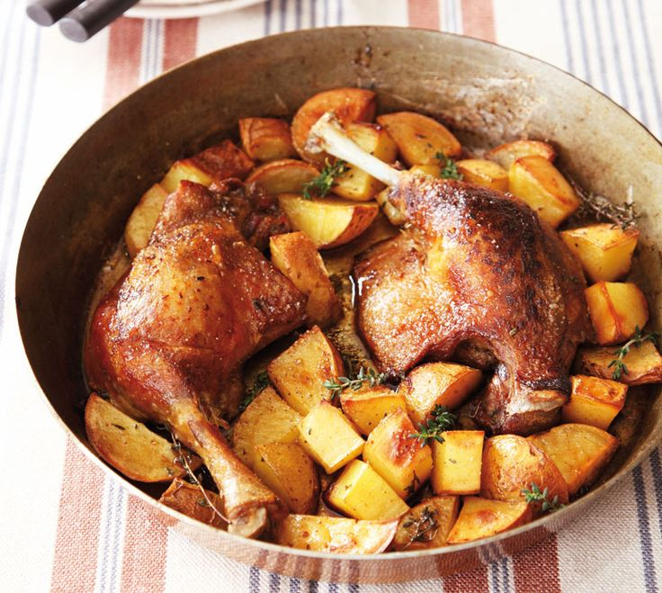 Nigella Lawson's Roast duck legs & potatoes - To make officially paleo use parsnips or celeriac instead.