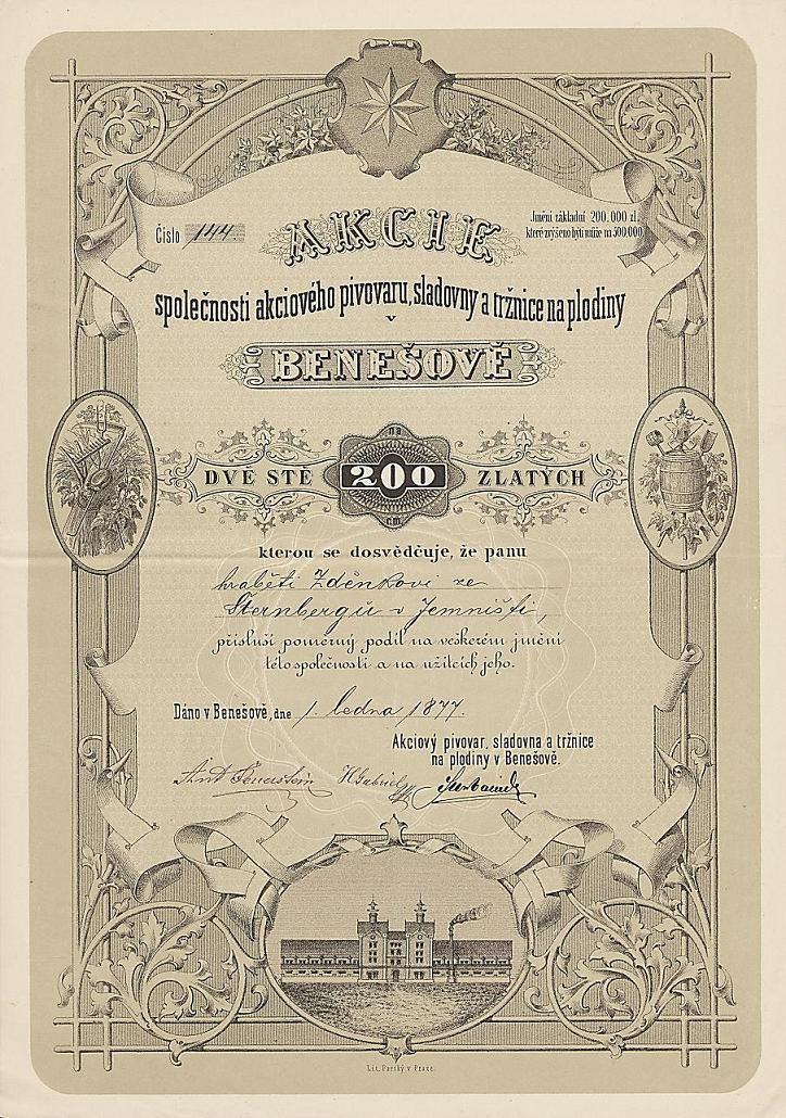 B062 Muzeum cennych papiru / Akciový pivovar, sladovna a tržnice na plodiny v Benešově / Aktienbrauerei, Malzfabrik und Markthalle für Nutzpflanzen / akcie na jméno / Namensaktie / 200 Zl., v Benešově (Beneschau) 1.1.1877 / AZP4CZ045