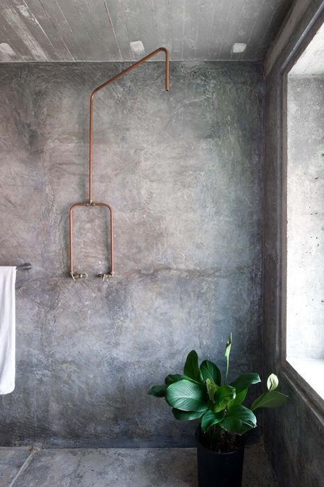 Cement shower with copper fittings