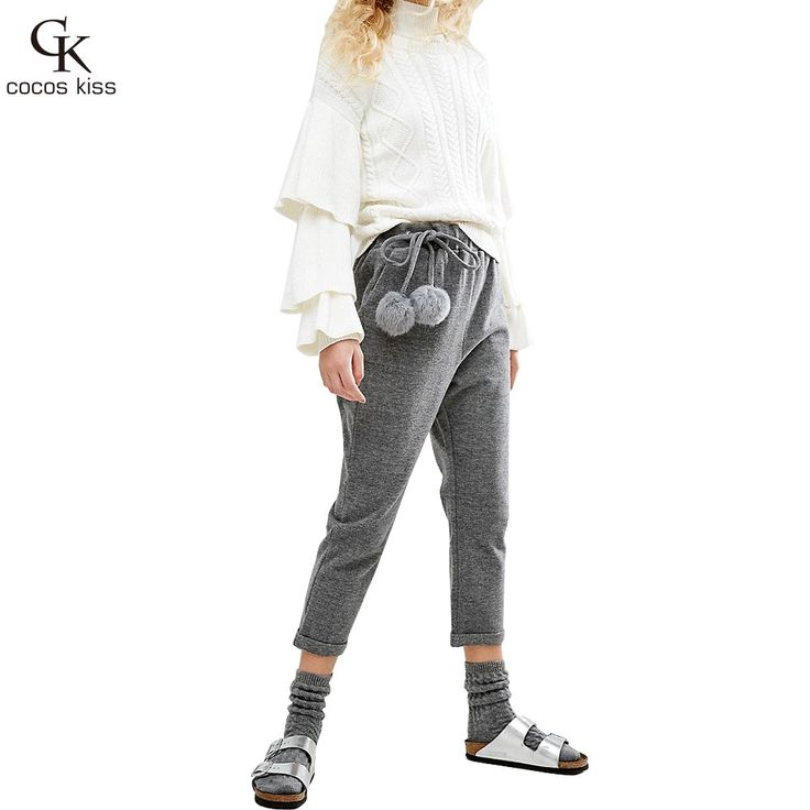 New Fashion Style Women Hair Elastic Wool Elastic Waist Pants Haren White Size Two