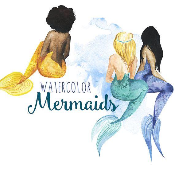 Watercolor Mermaid clipart Mermaids clip by DigitalPressCreation
