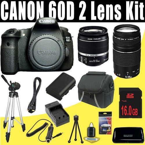 Canon EOS 60D - Digital camera - SLR - 18.0 Mpix - Canon EF-S 18-55mm IS and EF 75-300mm lenses - optical zoom... - Listing price: $1,729.99 Now: $910.29