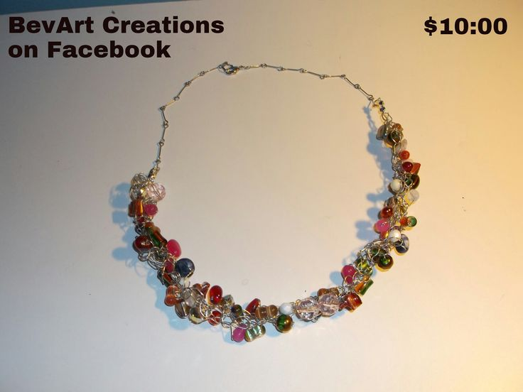 Unique crocheted wire and bead necklace app18""
