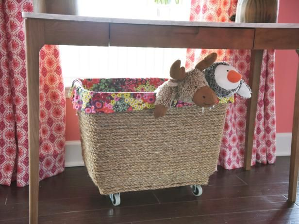 Turn a plastic bin into mobile storage. Perfect for toys, laundry, blankets or anything else you can think of. Get creative!  --> http://www.hgtv.com/design/make-and-celebrate/handmade/diy-mobile-storage-bin?soc=shpinparty