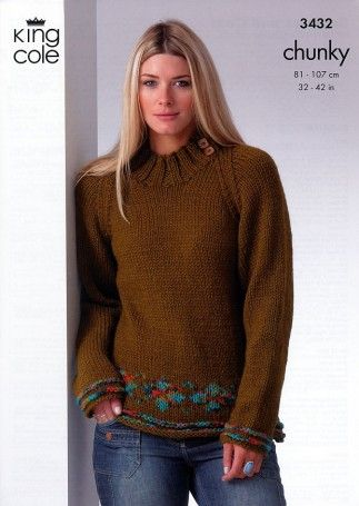 King Cole Ladies Sweater & Coat Top Magnum Knitting Pattern 3432 Chunky | Knitting | Patterns | Minerva Crafts