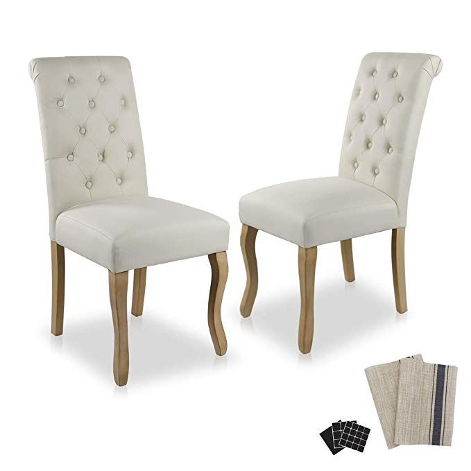 Dinner Chairs Upholstered Accent Fabric Dining Chair Solid Wood