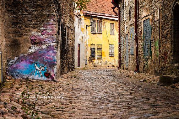 Abandoned Street Art -- Tallinn, Estonia -- Travel Photography -- Photograph by Kiba Photography  Wall Art, Old City Picture, Street Photography, Cobblestone, Graffiti