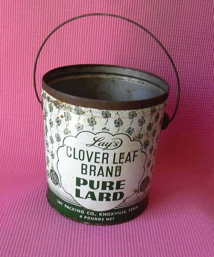 Lays Clover Leaf Brand Pure Lard Vintage Tin Bucket Knoxville Tennessee
