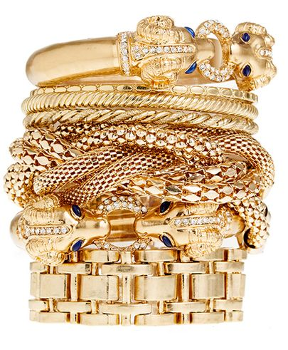 gold bracelet stack.