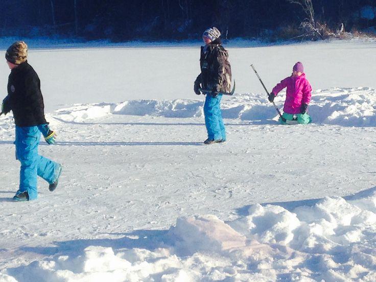 Pond Hockey on Neso Lake Manitoba - Jan 1, 2017