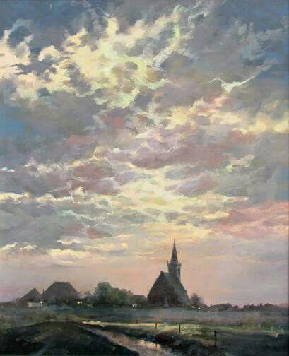 Geschilderd door Tjeerd Landman via FACEBOOK pag Texel is mijn eiland  Kerkje Den Hoorn Texel