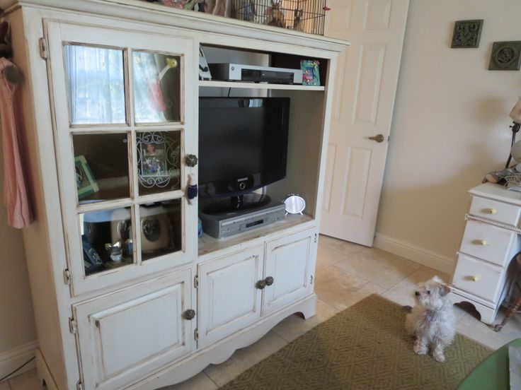 old entertainment center made it shabby chic making my. Black Bedroom Furniture Sets. Home Design Ideas